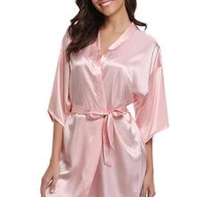 RB032 2018 New Silk Kimono Robe Bathrobe Women Silk Bridesma
