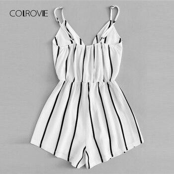 COLROVIE Wrap Casual Vertical Striped Ro...