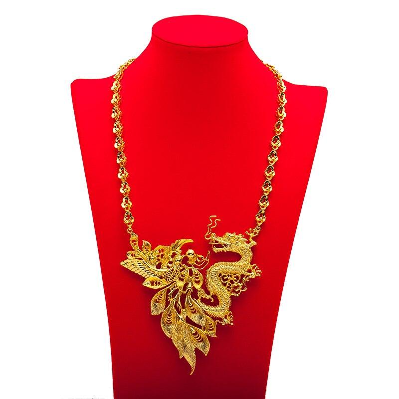 Rétro Dragon & Phoenix pendentif collier amulette de mariée mariage or rempli charme bijoux cadeau - 2