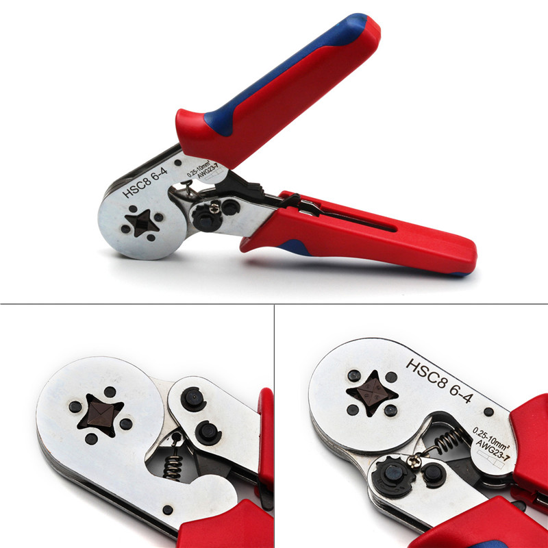HSC8 6-4 Crimping Pliers Self-Adjustable AWG 23-7 Wire Stripper 0.25~10mm2 for Cable Wire End Sleeves Tube Terminals Tools Plier