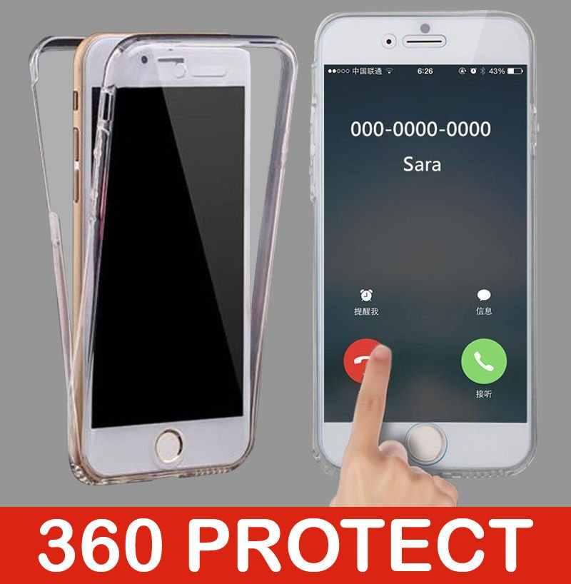 360 シリコーン TPU iphone 7 5 用 4s 5 SE 6 6 s 8 プラス X XR XS 最大 Huawei 社 y6 プロ Y7 首相 Y9 2019 1080p スマートカバー電話ケース