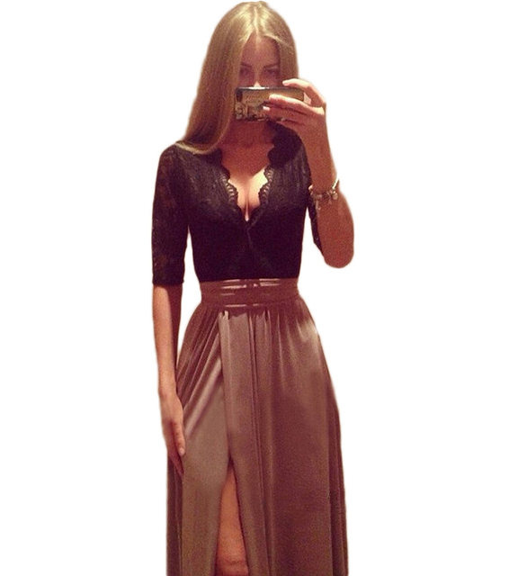2015 Hot New Lady Sexy Lace Bandage  Party Clubwear Women Long Sleeve Maxi Long Side Slit Dress with bow belt