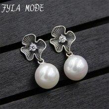 Fashion Classic High-grade Luxury Tiny CZ Stone Cluster Flower Shell Pearl Drop Earrings Women Wedding Jewelry S925 Silver