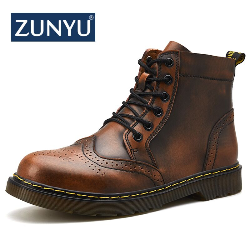 25c2968f207 ZUNYU 2018 New Genuine leather Men Boots Spring Autumn And Winter Man Shoes  Ankle Boot Men's Snow Shoes Work Plus Size 38-47