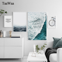 TAAWAA Sea Wave Motivational Poster Quote Print Nordic Style Wall Art Canvas Painting Bike Picture Room Decoration Home Decor