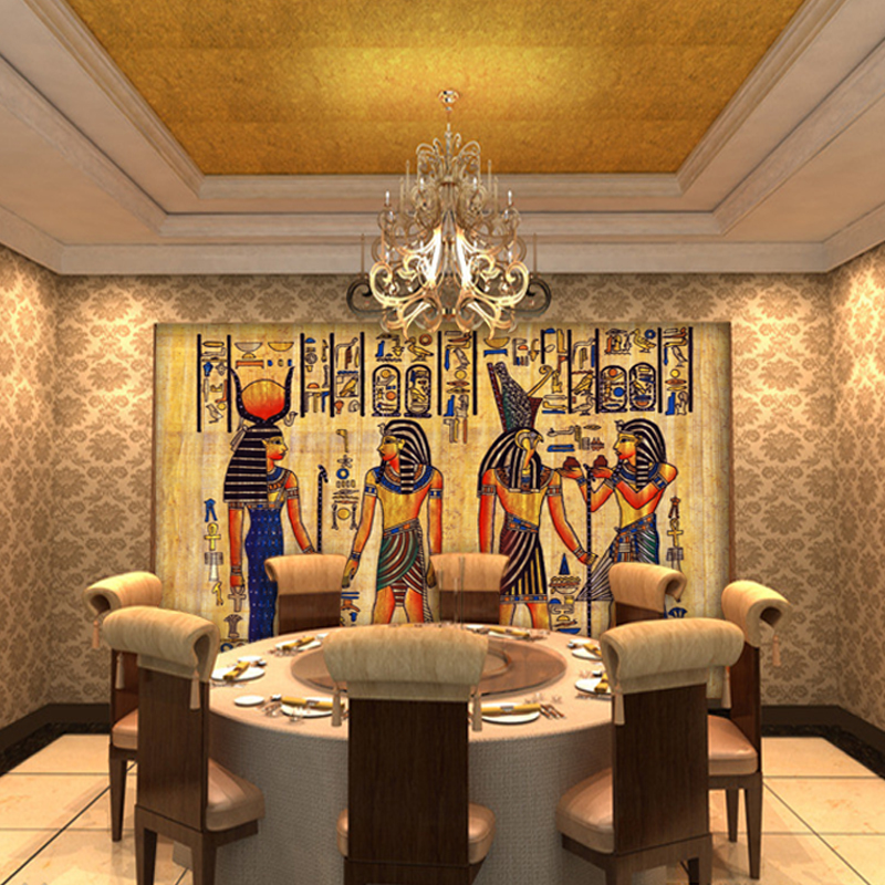 Free shipping continental 3d ancient egyptian mural sofa for Egyptian mural wallpaper