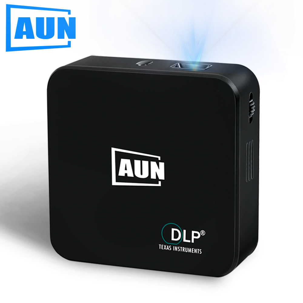 AUN Projector Built-in Android, WIFI, Bluetooth, 3000mAH Battery. DLP Mini Projector Support Miracast, Airplay, AKEY E3 Free Bag