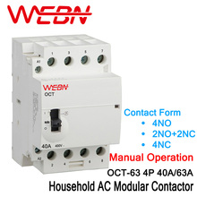 OCT-63 Series 4P 40A/63A Manual Operation AC Household Din Rail Modular Contactor 220V/230V 50/60Hz Contact 4NO/2NO+2NC/4NC 35mm din rail mounted 3p 4no 4nc 380vac coil contactor type relay jzc1 44