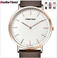 ROLLSTIMI Watches New High Quality Men 2016 Genuine Leather Or Nylon Strap Gold Color Quartz Watch