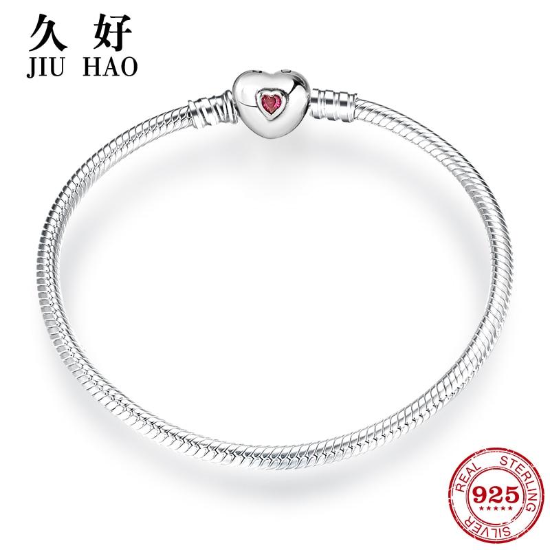 Горячая 925 пробы, серебряные браслеты с подвесками в виде сердца и браслет в форме сердца, винно Красный кубический цирконий CZ, Модные женские ювелирные изделия