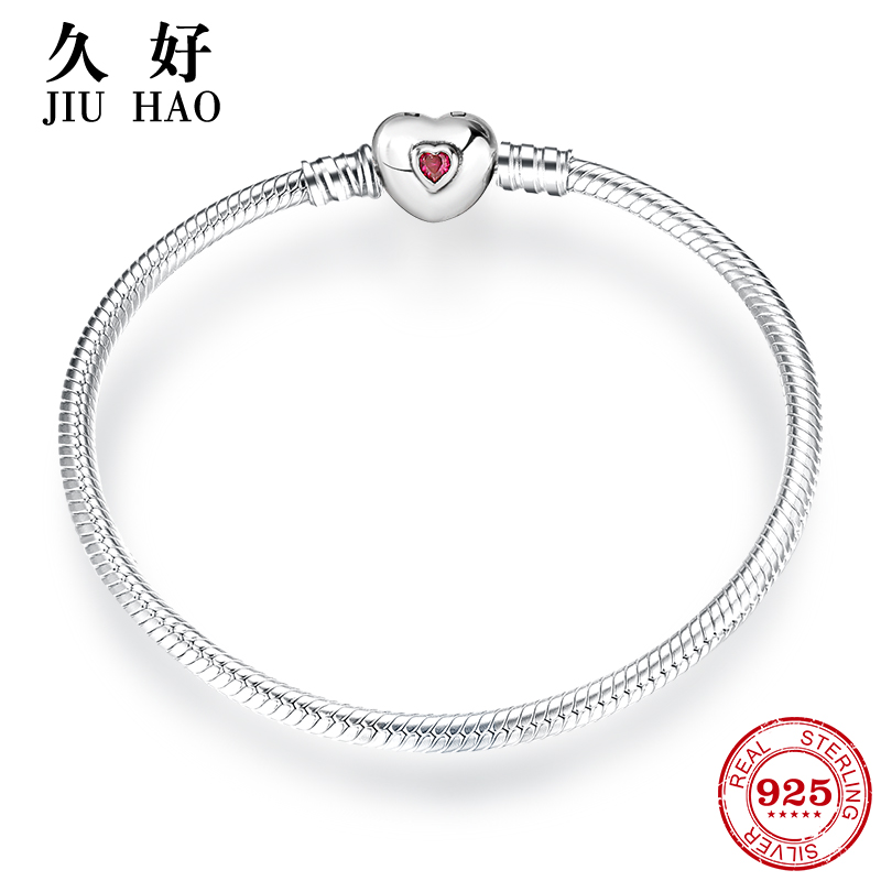 все цены на Hot 925 Sterling Silver Charms Love Heart Bracelets & Bangle Heart Shape Pave wine red cubic zirconia CZ Fashion Womens Jewelry