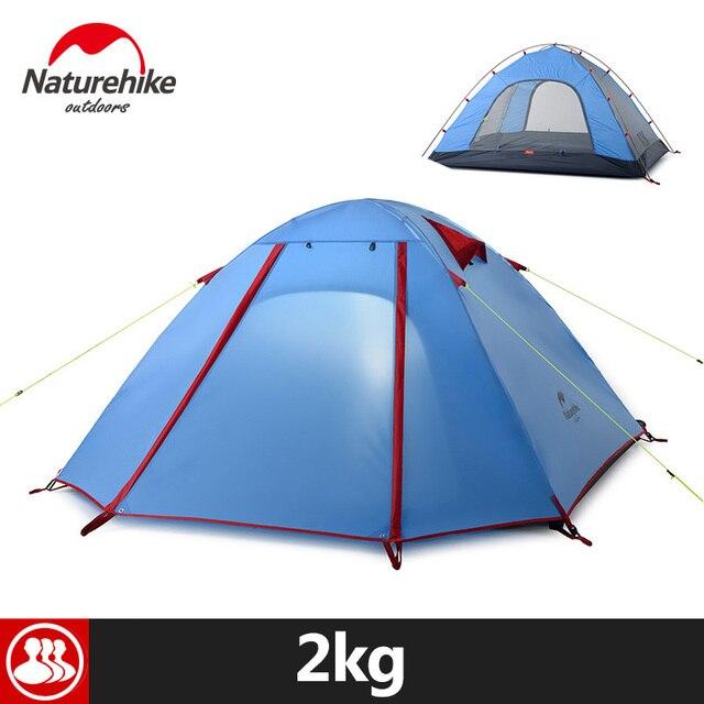 Naturehike 3 Person Outdoor Tent 210x160x115cm  3 Season Portable Rainproof Double Layer 5 Colors Aluminum Pole Camping Tent