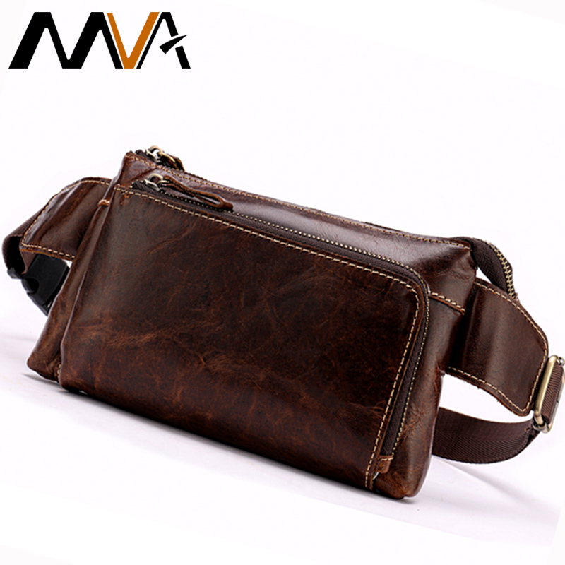 MVA Genuine Leather Fanny Pack Genuine Leather Men's Waist Bag Travel Phone Bags Hip Money/ Belt Bag Small Waist Pack For Men