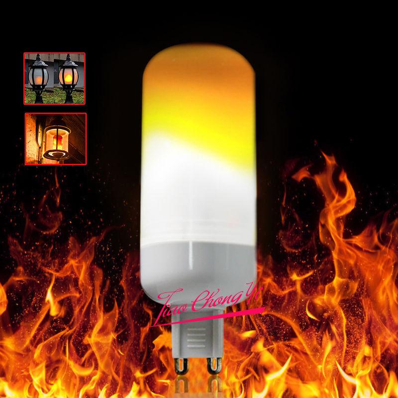 Lámpara decorativa G9 de 10X 3W LED con efecto de llama bombilla de maíz simulada de fuego natural - 2