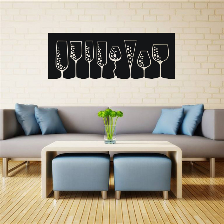 Wall Stickers DIY Wine Glasses Decal Art Mural Stickers Removable Living Room Bar Decor  ...