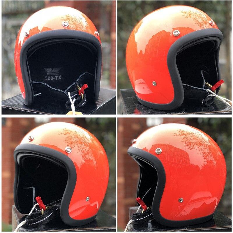TT & CO fatto a mano retrò moto casco 3/4 Aperto Viso casco moto D'epoca stile DD anello fibbia Sottile Borsette vecchio Stile Moto - 6