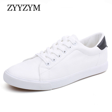 ZYYZYM Men Shoes Spring Summer PU Leather Lace-Up Wihte Style Light Breathable Fashion Sneakers Vulcanized