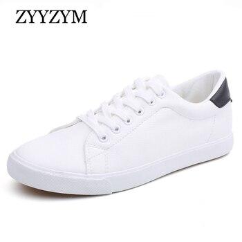 ZYYZYM Men Shoes Spring Summer PU Leather Shoes Men Lace-Up Wihte Style Light Breathable Fashion Sneakers Men Vulcanized Shoe
