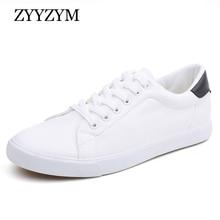ZYYZYM мъжки обувки пролет лято PU кожа дантела нагоре Wihte стил светлина дишаща мода маратонки вулканизирани обувки