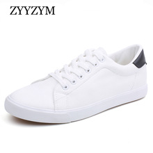 ZYYZYM Herresko Vårsommer PU Lær-Lace Up Wihte Style Lys Pustende Mote Sneakers Vulcanized Shoes