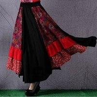 Women Skirt Linen Cotton Maxi Skirt Plus Size Floral Print Long Skirt Patchwork High Waist Pleated