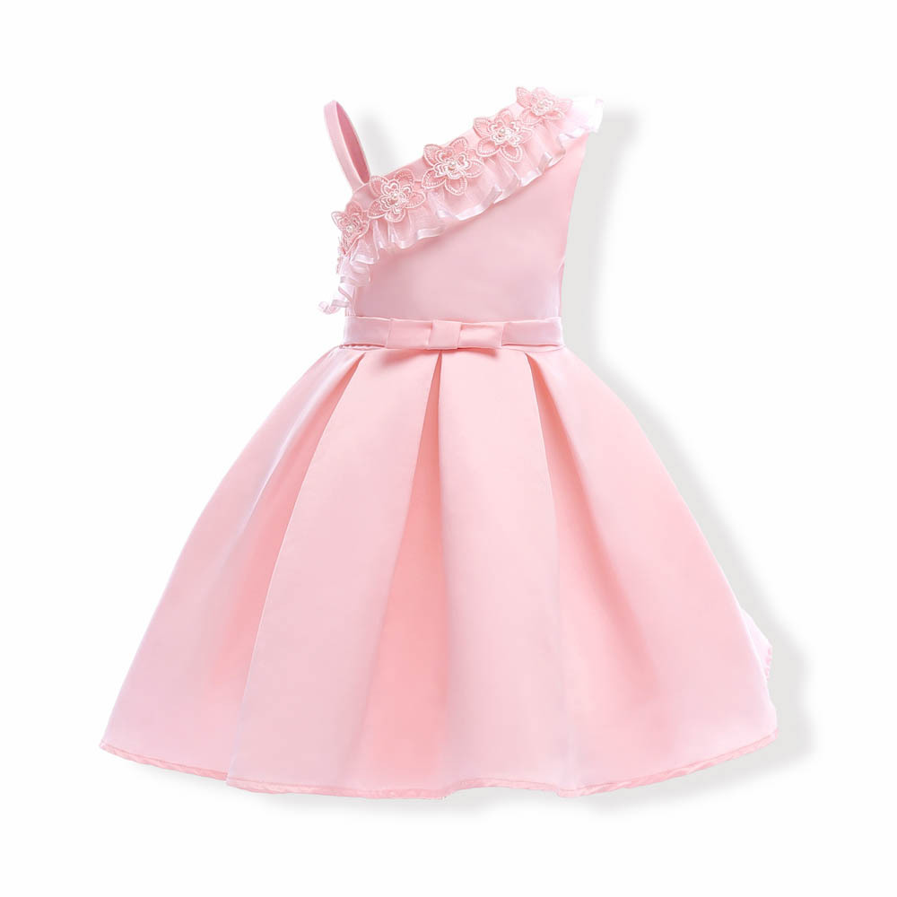 Summer Asymmetrical Sleeveless Floral Princess Pink Dresses Cute Print Ball Gown Bow Girl s Desses L10 ...