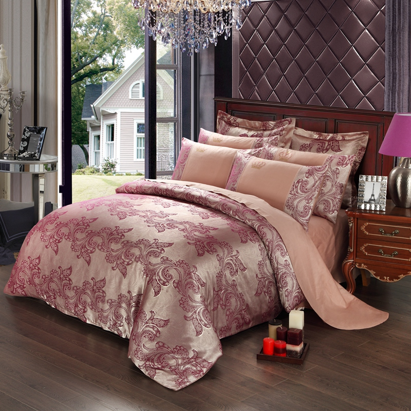 2017new Luxury Embroidery Tencel Satin Silk Jacquard Bedding Sets Golden Pink Red Bedsheet