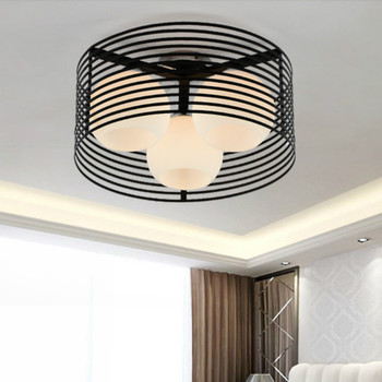 Modern Simple Nordic Circular Iron Glass Led E27*3 Ceiling Lamp For Living Room Study Dining Room Bedroom Lighting Dia 40cm 1039