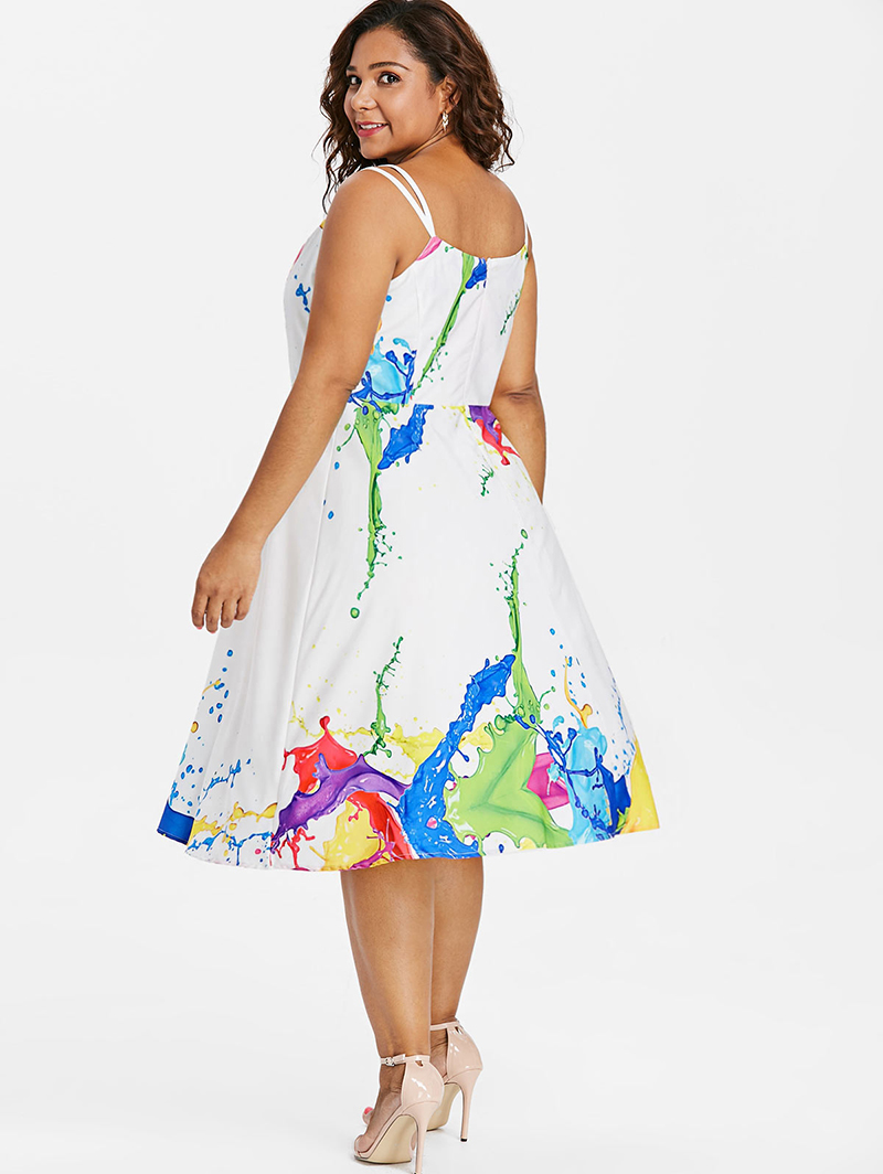 Plusmiss Plus Size Abstract Print A Line Sleeveless Dress 5xl Women Torch Tunik Blue Black Navy Xl Spaghetti Strap White Midi Party Dresses Big Xxxxl Xxxl Xxl In From Womens