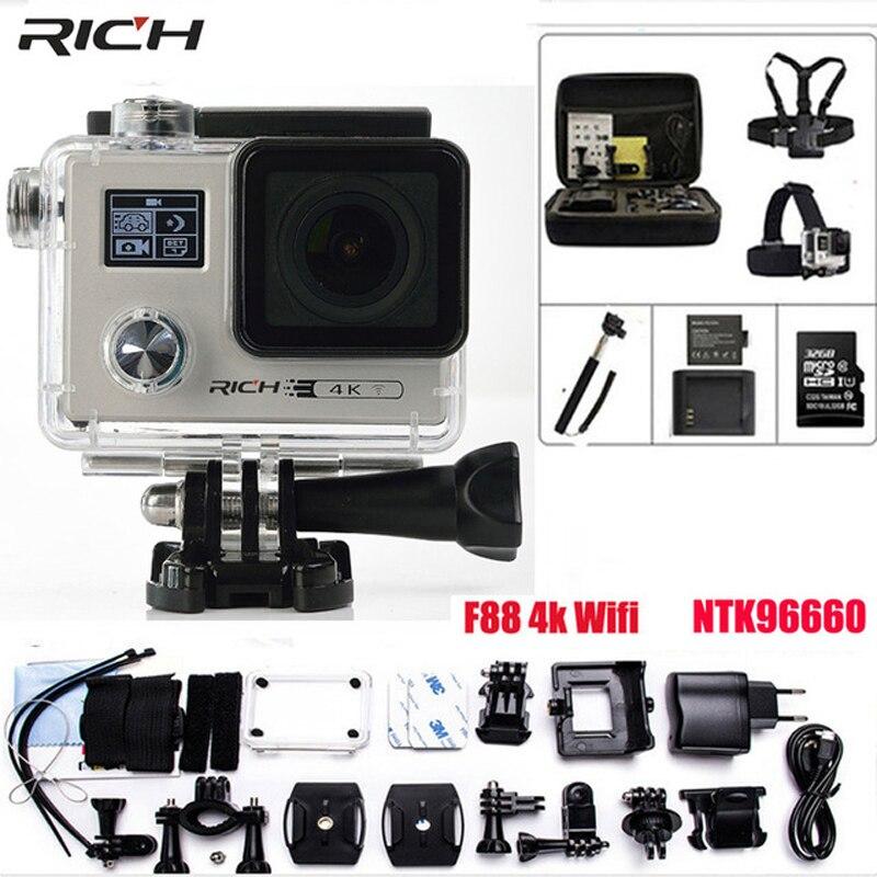 Действие Камера Ultra HD 4 К F88 Wi-Fi гироскопа 1440 P/30FPS двойной Экран Новатэк 96660 cam Водонепроницаемый 30 М Спорт Камера