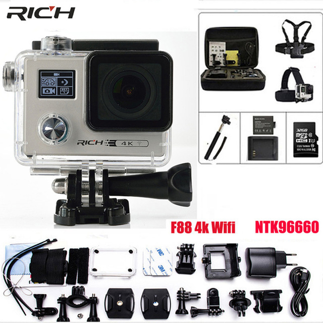 Action Camera Ultra HD 4K F88 Wifi Gyro 1440P/30FPS Double Screen Novatek 96660 cam Waterproof 30M Sport Camera
