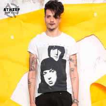ATHIEF TEES Casual rock short-sleeved T-shirt male character printing summer BEATLES