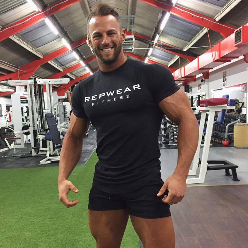 2019 New summer shirt cotton gym fitness men t-shirt brand clothing Sports t shirt male print short sleeve Running t shirt 1