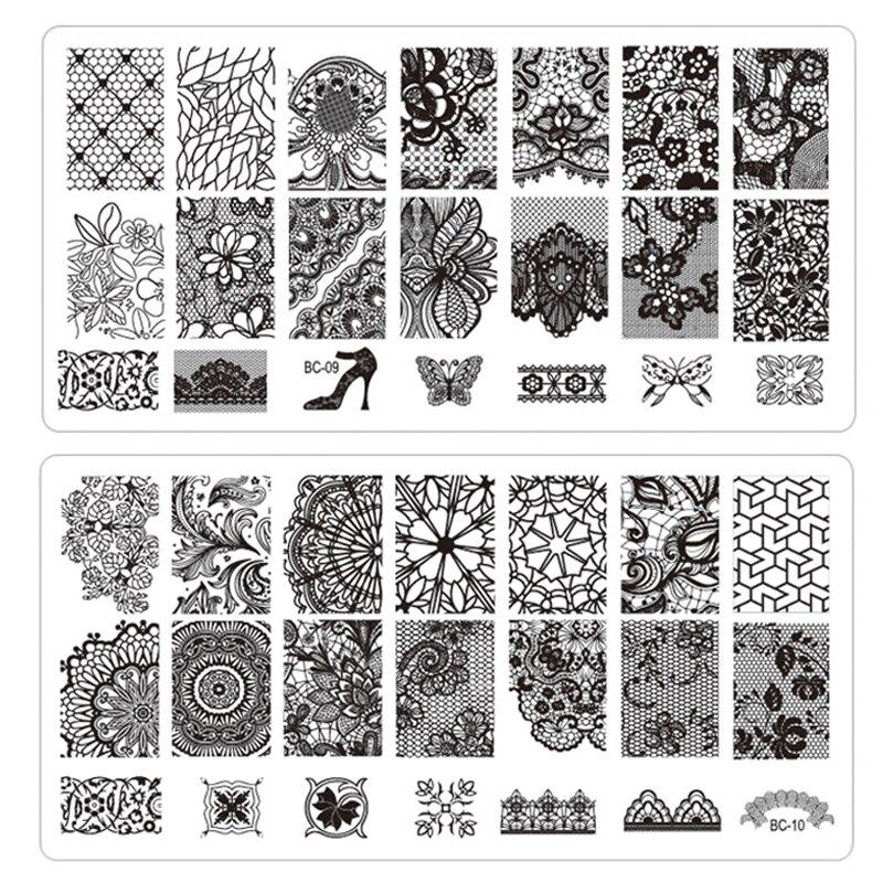 Atacado 1 pcs New Black Lace flor Nail Stamping aço inoxidável chapas de Nail Art Stamp Template Manicure ferramentas unhas