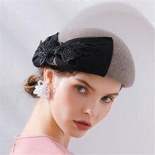 LEAYH mujer boda banquete fiesta de moda de encaje Bowknot 100% fieltro de lana  boinas de señora de las mujeres sombreros de pri. f05bbf9c9b0