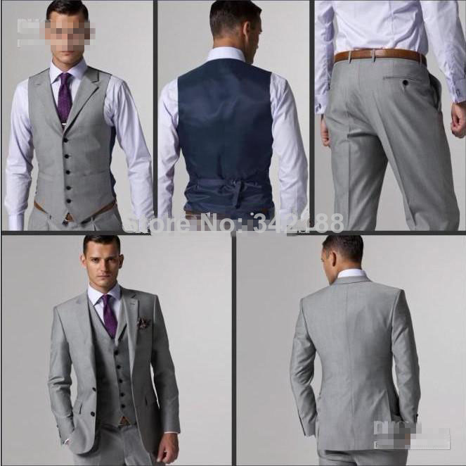 New build two buttons Slim unilateral opening of light gray dress ...