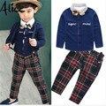 2016 New Boys Gentleman suits t-shirt +Pants 2pcs set bow shirt Plaid Children Baby Kids British style Fashion suit high quality