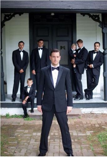 Custom Slim Fit Wedding Black Notch Lapel Men Suits Blazer Elegant Grooms Best Man Tuxedo Summer Beach 2 PCS (Jacket+Pants+Tie)