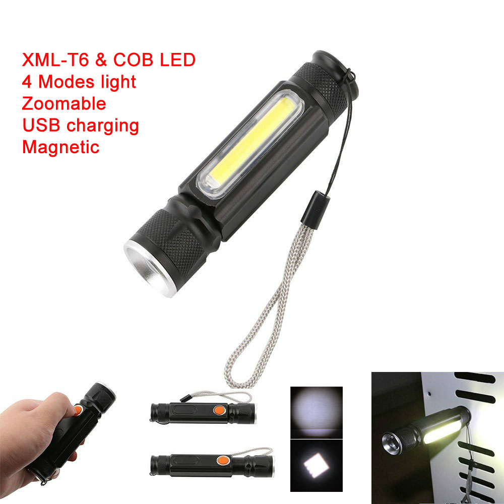 LED Magnet USB Charger Flashlight CREE T6 COB Waterproof Zoomable Tactical Torch Flash Light Work Light Use 18650 Rechargeable led l t6 flashlight 8000lumens torch 5modes tactical flashlight zoomable flash light with usb battery charger