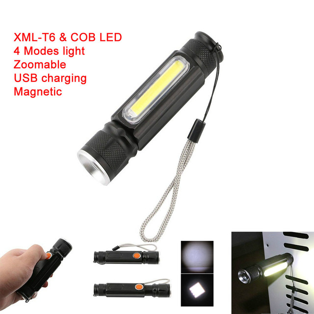 LED Magnet USB Charger Flashlight CREE T6 COB Waterproof Zoomable Tactical Torch Flash Light Work Light Use 18650 Rechargeable