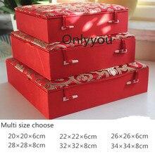יוקרה כיכר סיני עץ תיבת אחסון צלחת צלחת קופסא מתנת משי בד אוסף תיבת קישוט גבוהה סוף אריזה עבור תכשיטים