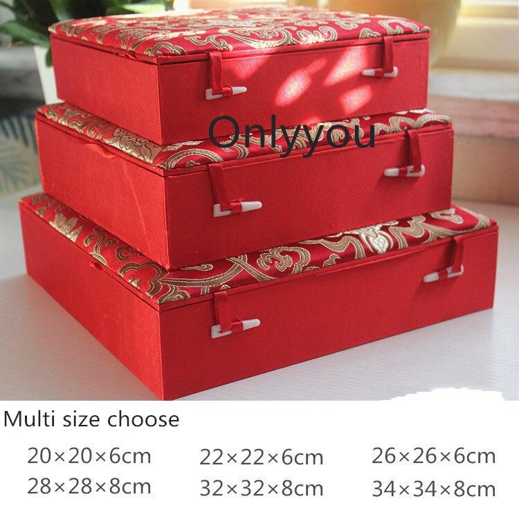 купить!  Роскошный Квадратный Китайский Деревянный Ящик Для Хранения Тарелка Блюдо Подарок Шелковые Ткани