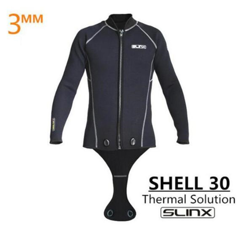 SLINX Men Scuba Diving Jacket 3mm Neoprene Wetsuit Keep Warm Long Sleeve Crotch Jacket for Snorkeling