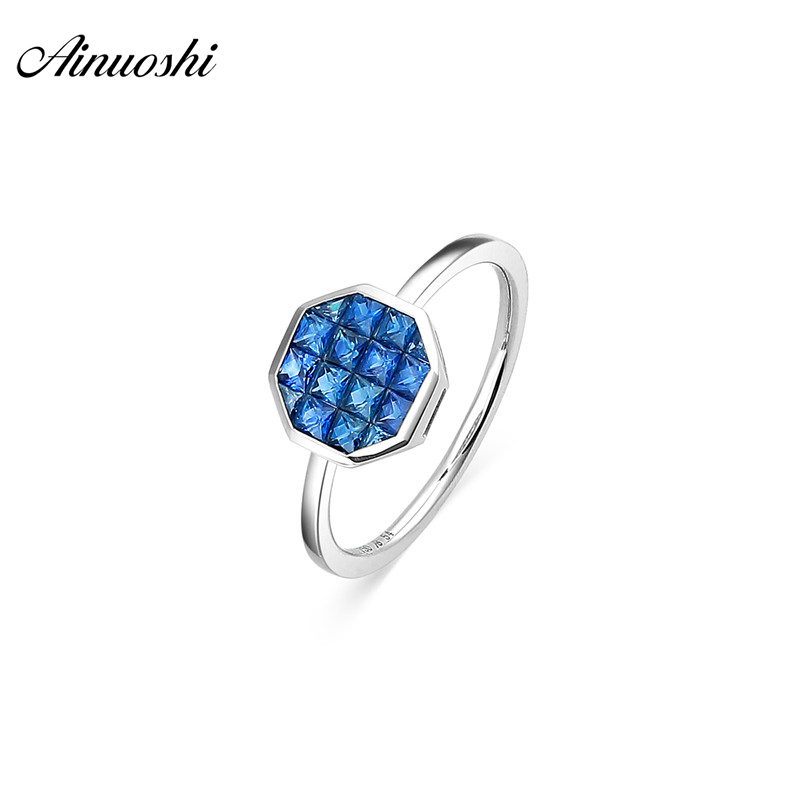 AINUOSHI 18 K Naturel Bleu Saphir Anneau Blanc Or Octogonale Anneau AU750 Amende De Mariage Marque Femmes Trendy Engagement