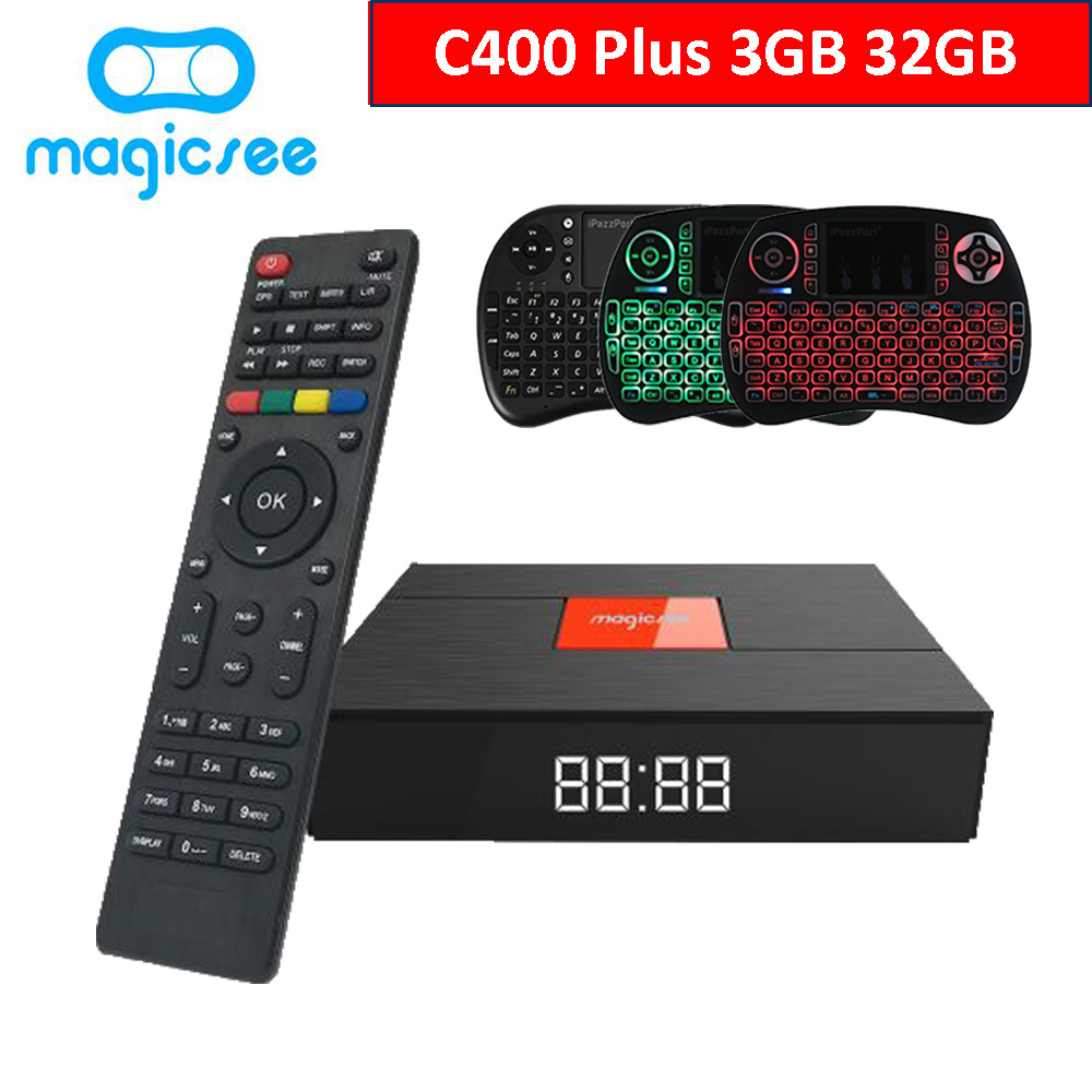 Magicsee C400 Plus Amlogic S912 <font><b>Octa</b></font> Core TV Box 3 + 32GB <font><b>Android</b></font> 4K Smart TV Box <font><b>DVB</b></font>-S2 <font><b>DVB</b></font>-<font><b>T2</b></font> kabel Dual WiFi Smart Media-Player image