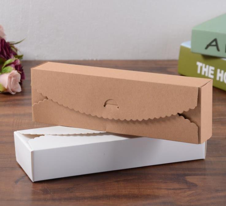 Boîtes à cadeaux Kraft papier fait à la main bonbons/chocolat boîte d'emballage stockage blanc bricolage boîtes à gâteaux de mariage 23*7*4 cm