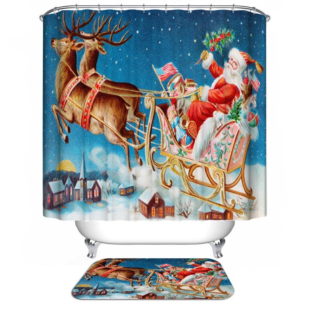 Christmas Decorations For Home Bathroom Shower Curtains Bath Curtain Sliding 3d Waterproof Fabric