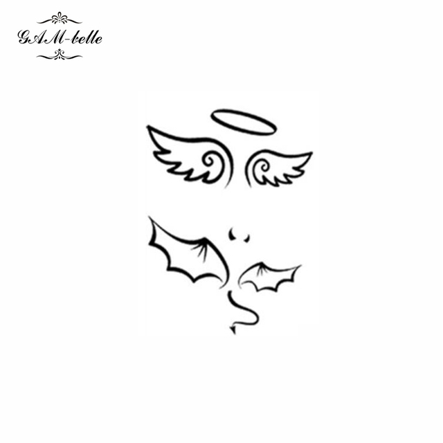Harajuku Clavícula Pareja Pasta Tatuaje Realista Impermeable ángel