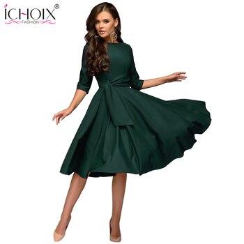 2b324a88e3fea ICHOIX kadın kıyafetleri 2019 moda sonbahar kış elbise seksi parti elbise  zarif tüp uzun kollu bayan elbiseler vestidos de festa