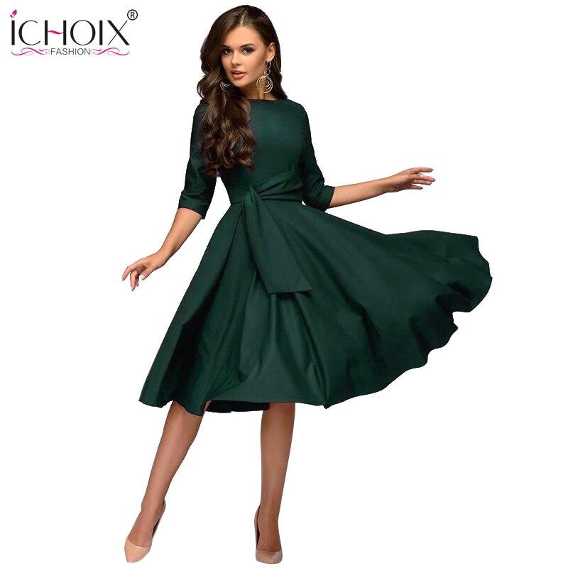 de2429245a142 ICHOIX women clothes 2019 fashion autumn winter dress sexy party dress  elegant tube long sleeve ladies dresses vestidos de festa